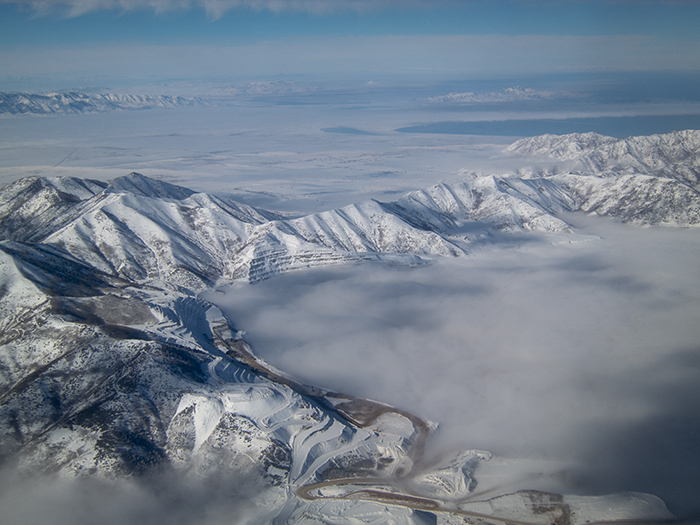 Kennecott covered in clouds