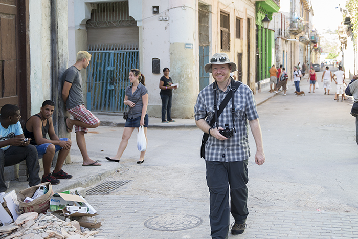Duncan walking the streets of Havana