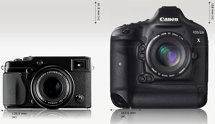 Fuji X-Pro 1 compared to Canon 1DX