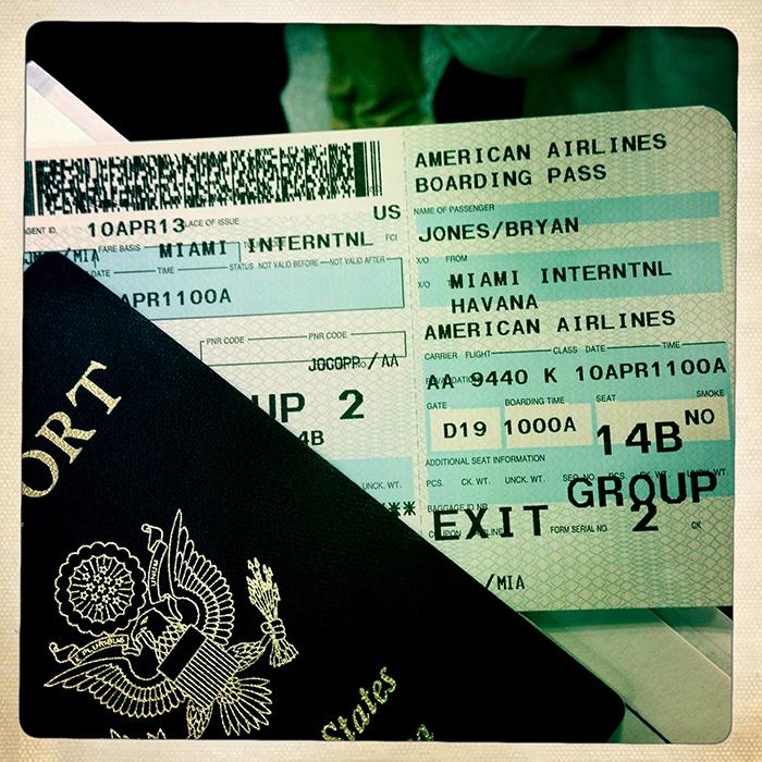 Passport and ticket to Havana