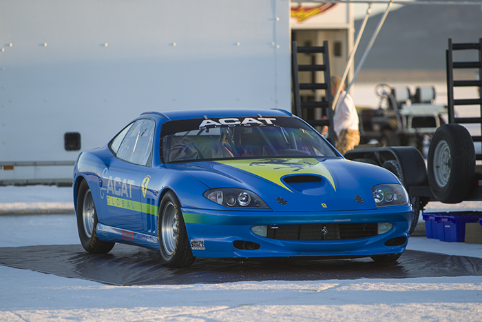Blue Ferrari on salt