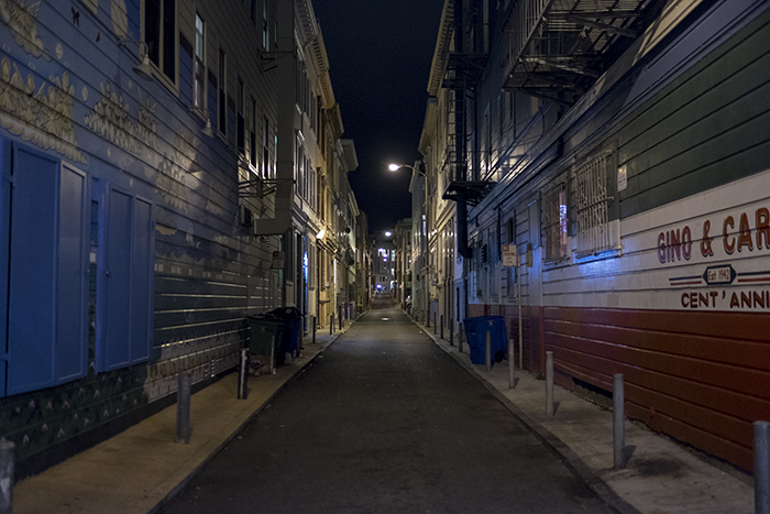 San Francisco alley at night