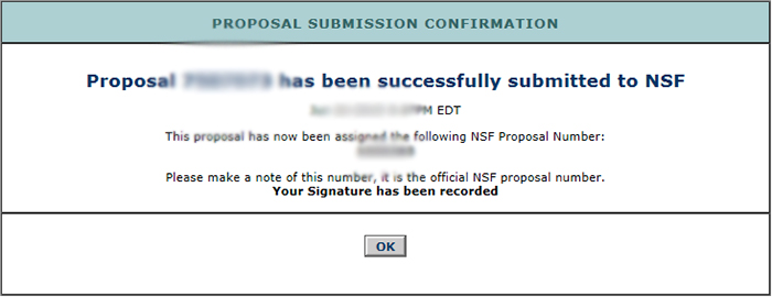 Screen shot NSF grant