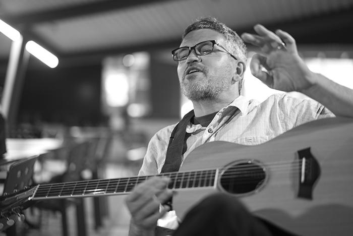 Douglas Eck with guitar
